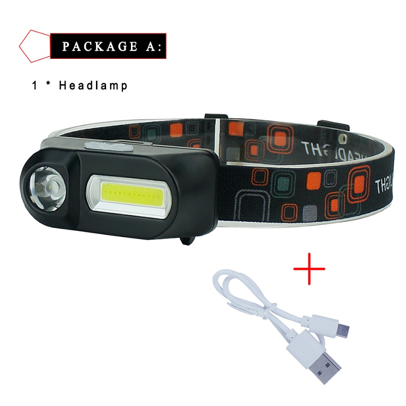 Outdoor Camping Portable Mini XPE+COB LED Headlamp USB Charging Fishing Headlights Flashlight Linterna  Cabeza Lampe Frontal	 A1