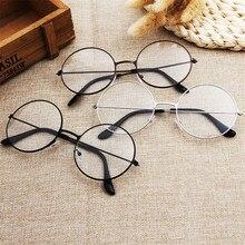 Винтажный стиль женщин/мужчин популярны круглый металлический прозрачные линзы кадр очки модный унисекс ботаник анти-излучения очки оправа