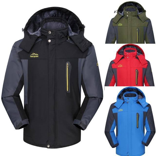Men Outdoor Workout wear Hiking Coat Winter Outdoor Cashmere Thickening Hoodie Zipper Windproof Sport Hat Removable Coat