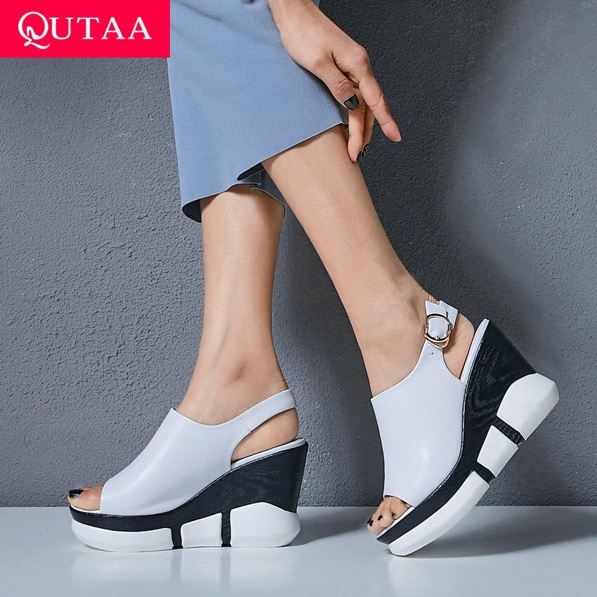 Qutaa 2019 여성 샌들 암소 가죽 웨지 슈퍼 하이힐 라운드 오픈 토드 슬링 백 캐주얼 두꺼운 바닥 숙녀 신발 크기 34 39-에서하이힐부터 신발 의  그룹 1