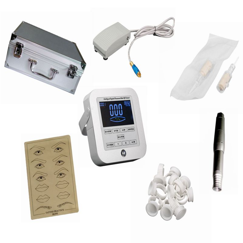 Tattoo Machines Digital Intelligent Permanent Makeup eyebrow lip machine Kit swiss motor gun + power supply + needles #T hot sale digital permanent makeup pen machine high quality professional for eyebrow lip swiss motor tattoo gun