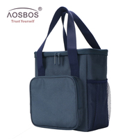 Aosbos Portable Waterproof Oxford Lunch Bags for Kids Women Men Large Capacity Thermal Lunch Bag Insulated Travel Picnic Tote