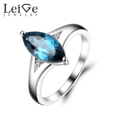 Leige Jewelry London Blue Topaz Ring Women Wedding Engagement Rings Sterling Silver Fine Jewelry Marquise Cut Blue Gemstone
