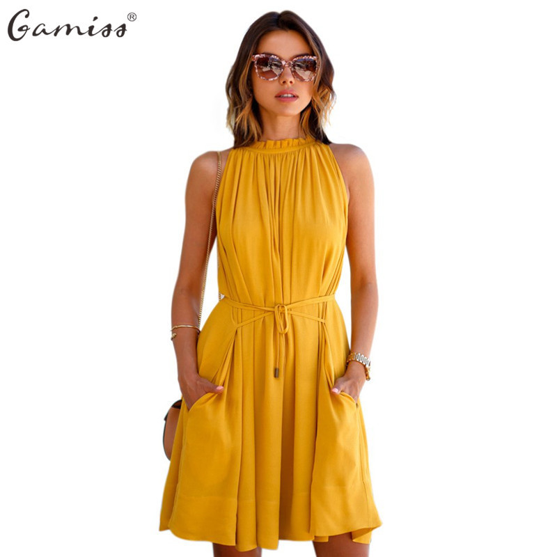 Pleated Yellow Dress Promotion-Shop for Promotional Pleated Yellow ...