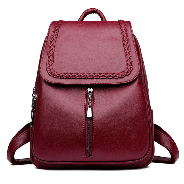 Brand New Female Backpack Women Backpack Leather School Bag Women Fashion  Designer Leather Bagpacks for Girls 3fa3ea7f159c0