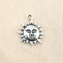 50 pçs/lote 23*19mm prata antiga Sol charme Pingentes jóias DIY para colar pulseira brinco