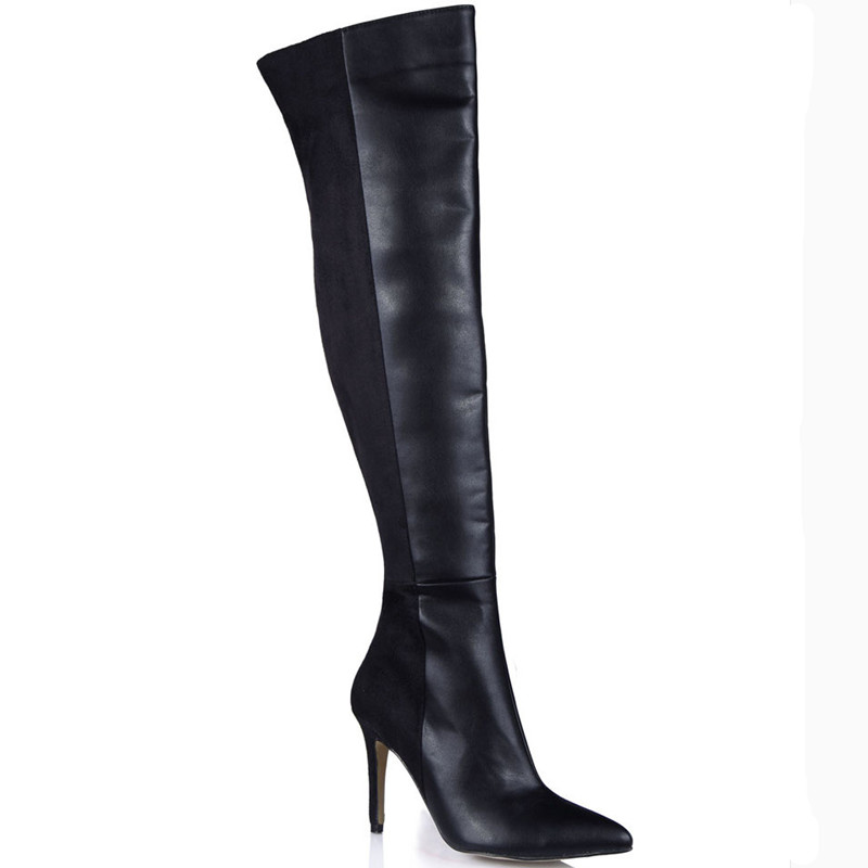Plus Size Autumn Spring Over Knee High Boots Pointed Toe Leather Shoes Women Boots High Heels Casual Ladies Shoes Superstar egonery quality pointed toe ankle thick high heels womens boots spring autumn suede nubuck zipper ladies shoes plus size
