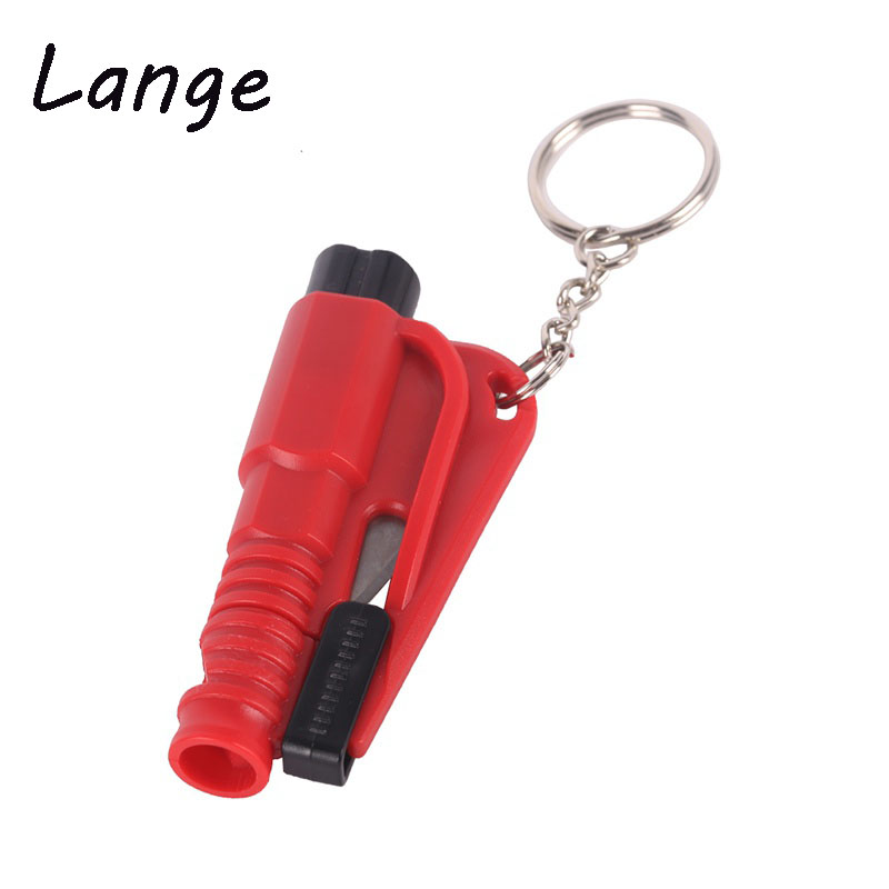Lange 1PC Car Styling Pocket Emergency Escape Rescue Tool Glass Window Breaking Safety Hammer with Keychain Seat Belt Cutter A31