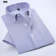 BOZE DXNXX 2017 Summer Style Casual Short Sleeve Mens Oxford shirts Striped Male Luxury Slim Chinese Factory Connection Clothing