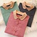 Senhoras blusas & camisas mulheres blusa camisa de algodão corpo clothing polka dot camisas femininas do vintage casual marca primavera 2017 nova