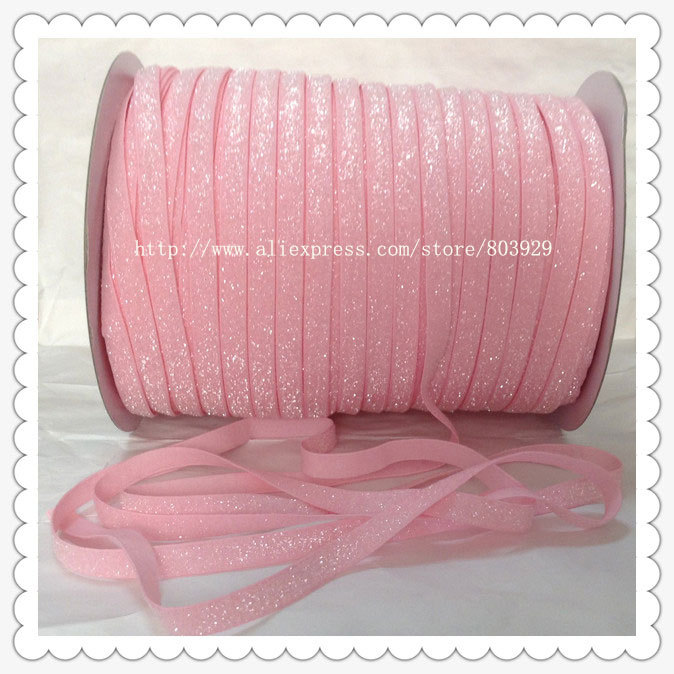 50yards lot Non stretch 1 5 Frosted Light Pink Glitter Ribbon
