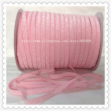 "(50 jardas/lote) Não-stretch 1.5 ""Fosco Luz Pink Ribbon Glitter"