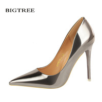 BIGTREE New Summer Thin Pumps Sexy Fashion Metal High Heels Shoes Mirror Patent Leather Pointed Women