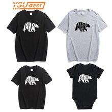 De algodón de mamá y papá camiseta de bebé recién nacido niña niño ropa Tops mono lindo oso trajes familia juego trajes de ropa de verano