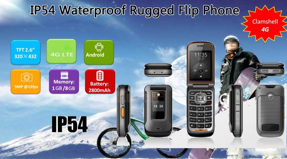 2016 Original 4G lte Android Clamshell Mobile Flip Phone SmartPhone Rugged Waterproof Mtk6735 1GB RAM Dual