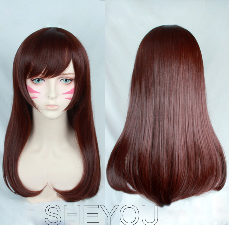 High Quality D.Va Cosplay Wig O W 0verwatch Heat Resistant Synthetic Hair Cosplay Costume Wig + Face Stickers + Wig Cap