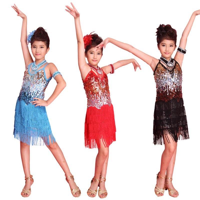 Hot Kids Girl Fringe Latin Dance Dress Tango Sequin Latin Dance Costume 6-12Y