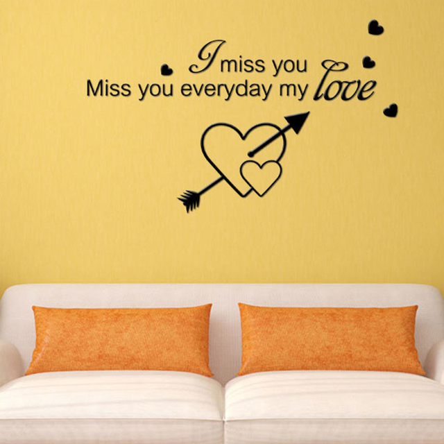 I Miss You Miss You Everyday My Love Lettering Pattern Vinyl Wall