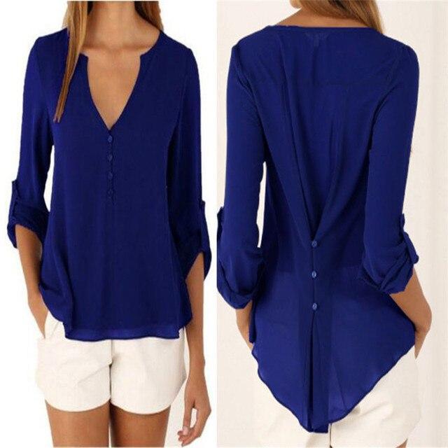 Fashion Women Blouse & shirt Plus Size S-5XL kimon Female long sleeve chiffon blouse Chic Elegant Lady Loose Tops chiffon shirt 5