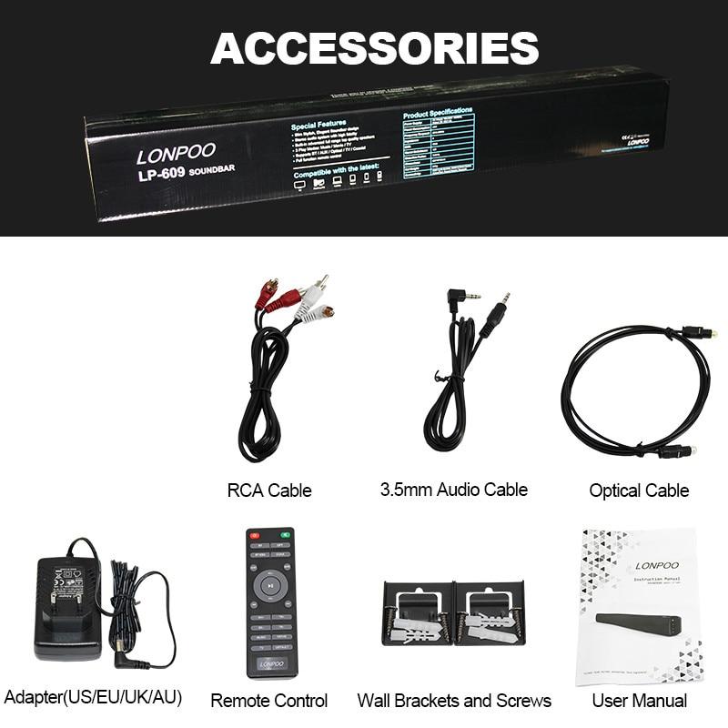 LONPOO casa teatro 40 W Bluetooth barra TV AUX óptica de Bluetooth Barra de sonido altavoces Bass barra de sonido altavoz para TV - 5