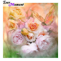 Ever Moment Diamond Painting Pink Flower Butterfly Handmade Full Square 5D DIY Diamond Embroidery Mosaic Decoration Home 3F758