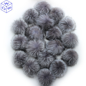 Image 1 - 10 pcs/lot DIY 15cm Soft And Fluffy Silver fox Fur Pom For keychains Knitted Scarf Beanie Cap Hats Genuine Fox fur Pompom