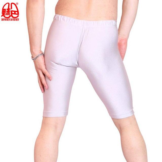 Sexy Men Oil Shiny Lycra Middle Pants Seamless Solid U Convex Pouch Half-Length Boxers Gay Wear Long Leg Underpants Dance Corset 4