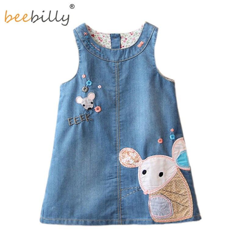 Džínové šaty Móda 2018 letní dívky šaty Roztomilý kreslený dívčí holky Oblečení Tisk Dětské oblečení Džíny Kids šaty pro dívku