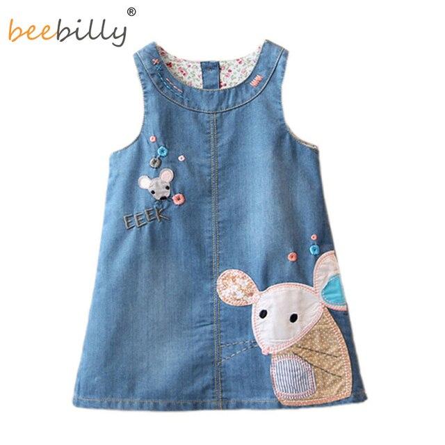 72f44323c20 Denim Dress Fashion 2018 Summer Girls Dress Cute Cartoon Baby Girls Clothing  Print Children Clothes Jeans Kids Dresses For Girl