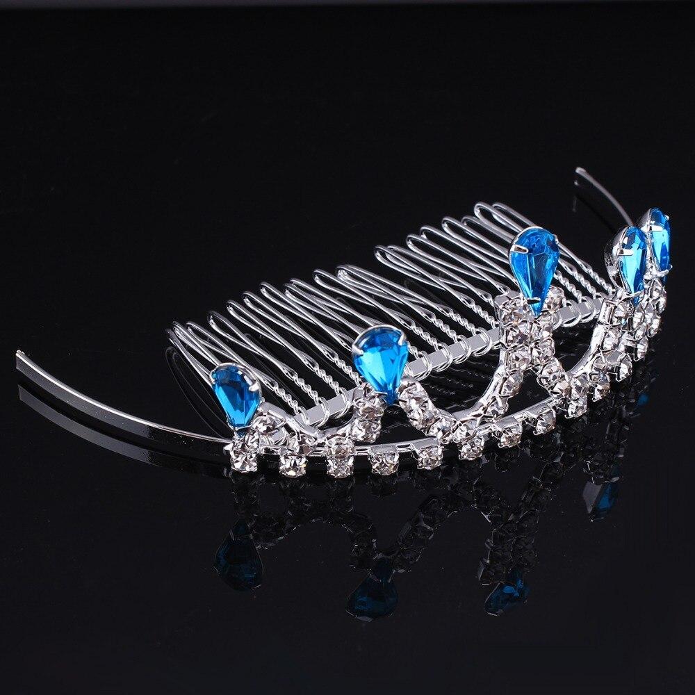 Blue Crystal little princess Hair Combs Crown Birthday Tiara Clear Rhinestone Wedding Flower Girs Hair Jewelry