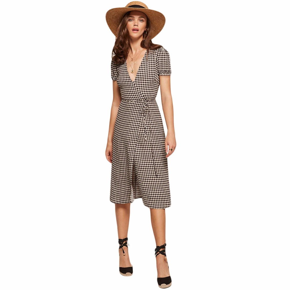 8d34bfb32836a US $16.34 24% OFF|Black white gingham ruffle trim short sleeve plunge V  neck tied wrap midi dresses for women ladies vintage sexy plaid dresses-in  ...