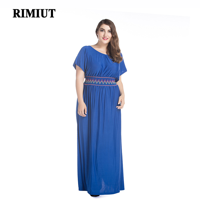 Rimiut Summer Rayon Soft Cool <font><b>Women</b></font> Big <font><b>Plus</b></font> <font><b>Size</b></font> Fat MM Long Ankle Length Dress 6XL <font><b>7XL</b></font> Bohemian Lady Casual Dresses Party Wear image