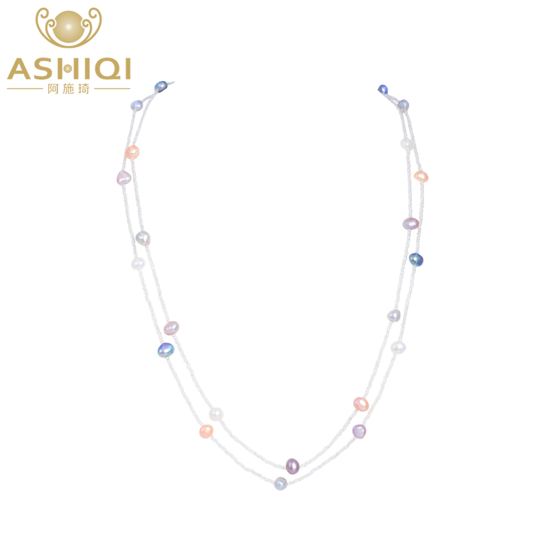 ASHIQI 120cm Baroque Freshwater Pearl multi layer Necklace 925 sterling silver clasp White crystal beads Jewelry gift for women baroque natural black pearl necklace multi layers 925 sterling silver lock fashion women jewelry free shipping party necklace