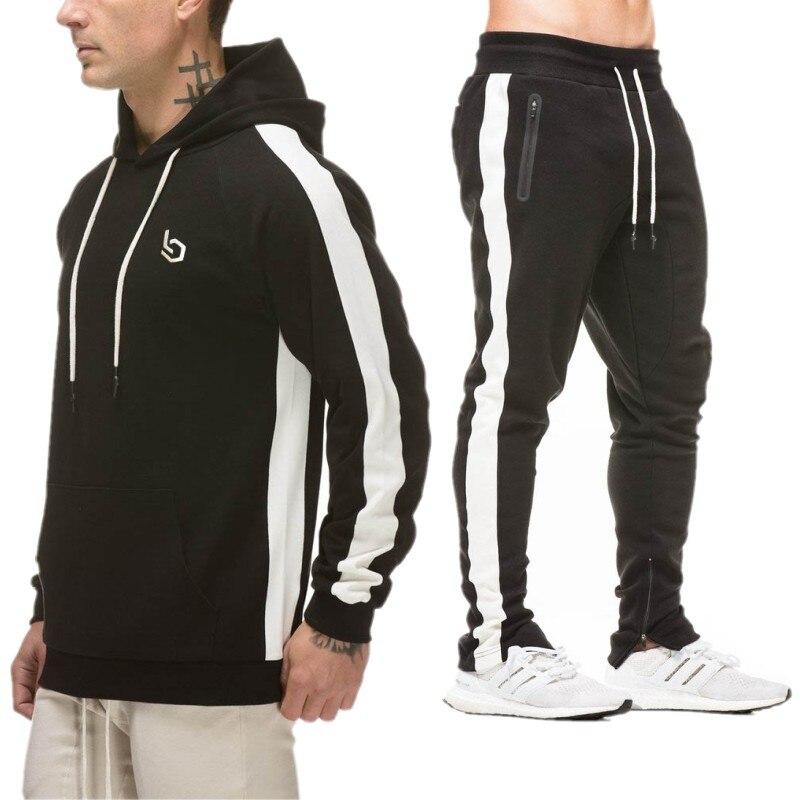 2018 ensembles pour hommes 2 pièces sweats hommes survêtement pull à capuche et pantalons bandes sweat à capuche Sportswear vêtements pour hommes
