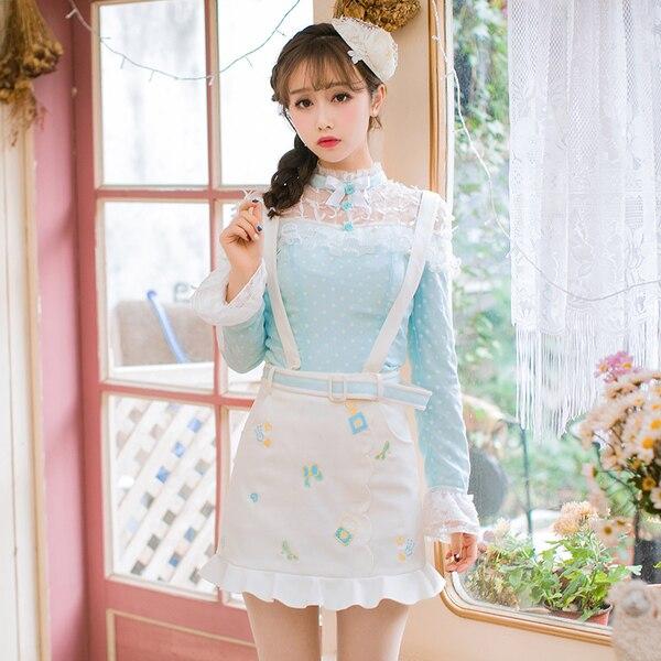 Princesse douce lolita blouse bonbon pluie japonais doux papillon en mousseline de soie chemise cou à manches longues col roulé veste C22AB7008