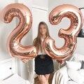 16/32 дюйма номер алюминиевый воздушный шарик из фольги в форме розового цвета: золотистый, серебристый цифры рисунок воздушный шар для детей ...