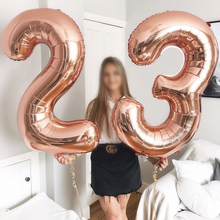 16/32inch Number Aluminum Foil Balloons Rose Gold Silver Digit Figure Balloon Child Adult Birthday Wedding Decor Party Supplies