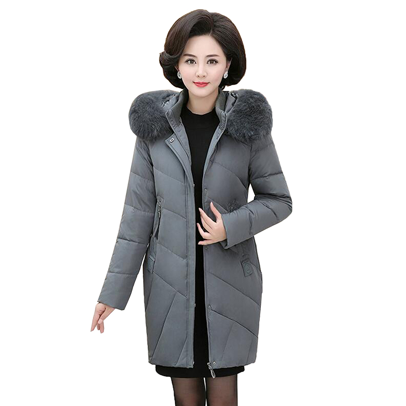 Plus Size Women Middle-Aged   Down   Jacket 2018 Fashion Long Thicken Warm Fox fur Collar White Duck   Down     Coat   Hooded Mother   Coat