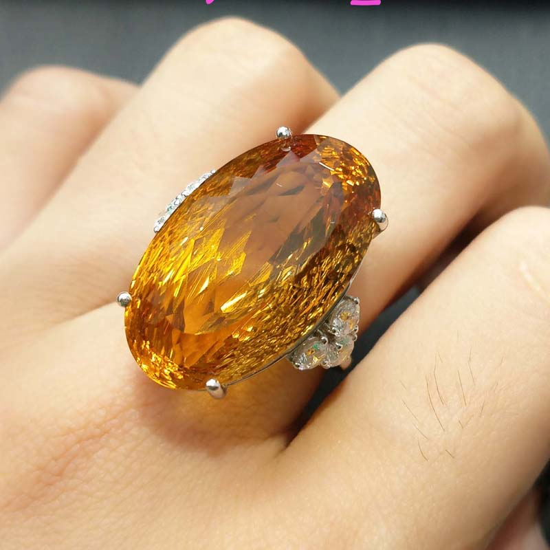 FLZB Charming ring big natural citrine gemstone oval beautiful luxury ring 925 sterliing silver fine jewelry