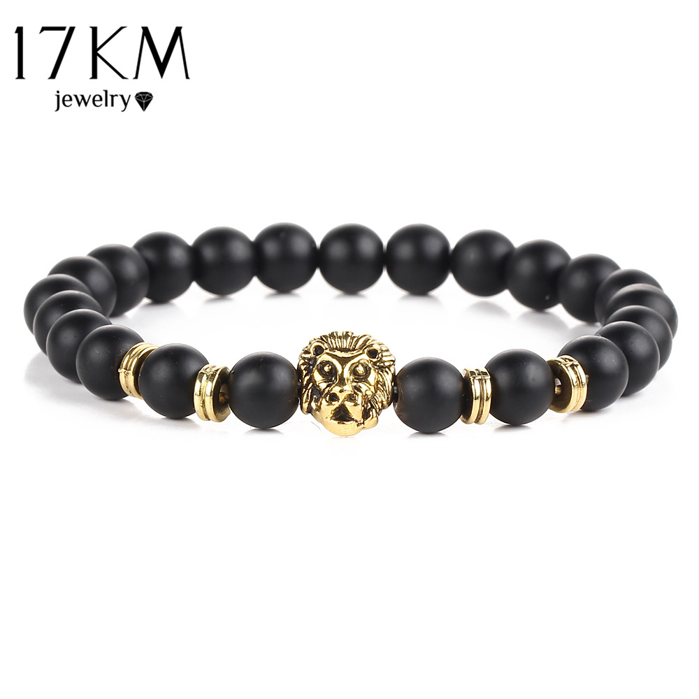 17KM Black Lava  Natural Stone Gold Color Lion strand Bracelet Femme Ethnic handmade Beads Bracelets Turkish Men Jewelry