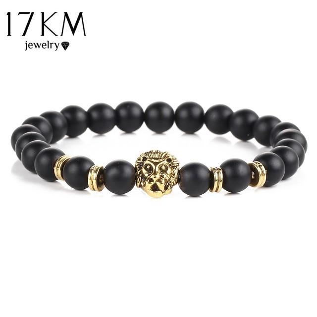 17KM Black Lava Natural Stone Gold Color Lion strand Bracelet Femme Ethnic handm