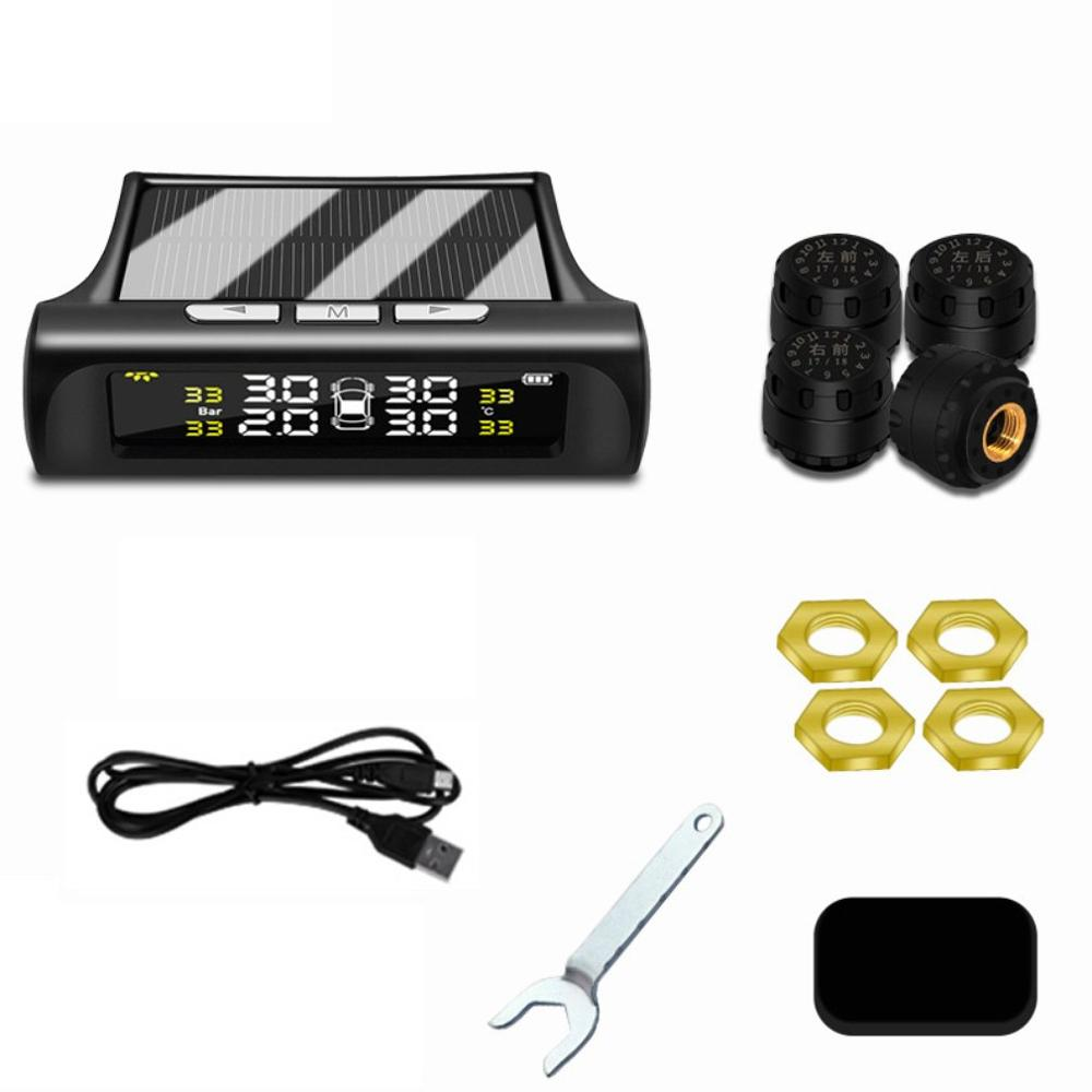 Car Tire Pressure Monitoring Tpms Wireless High Precision Solar External Buzzer Alarm Tire Pressure Detector