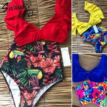 38db382556ea Bikini de cintura alta 2019 estampado Floral sexy traje de baño mujer Push  up bañador volante retro traje de baño mujer traje de baño ropa de playa  nuevo