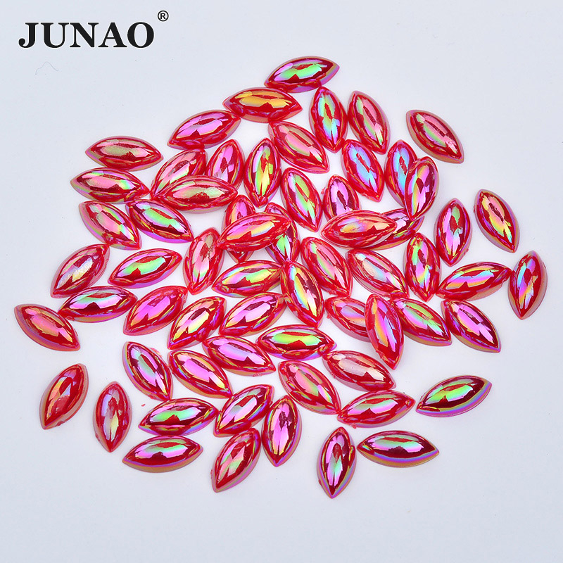 JUNAO 7*15mm Red AB Crystal Flat Back Rhinestones Acrylic Crystals Beads Non Sewing Stones Horse Eye Strass Applique for Clothes