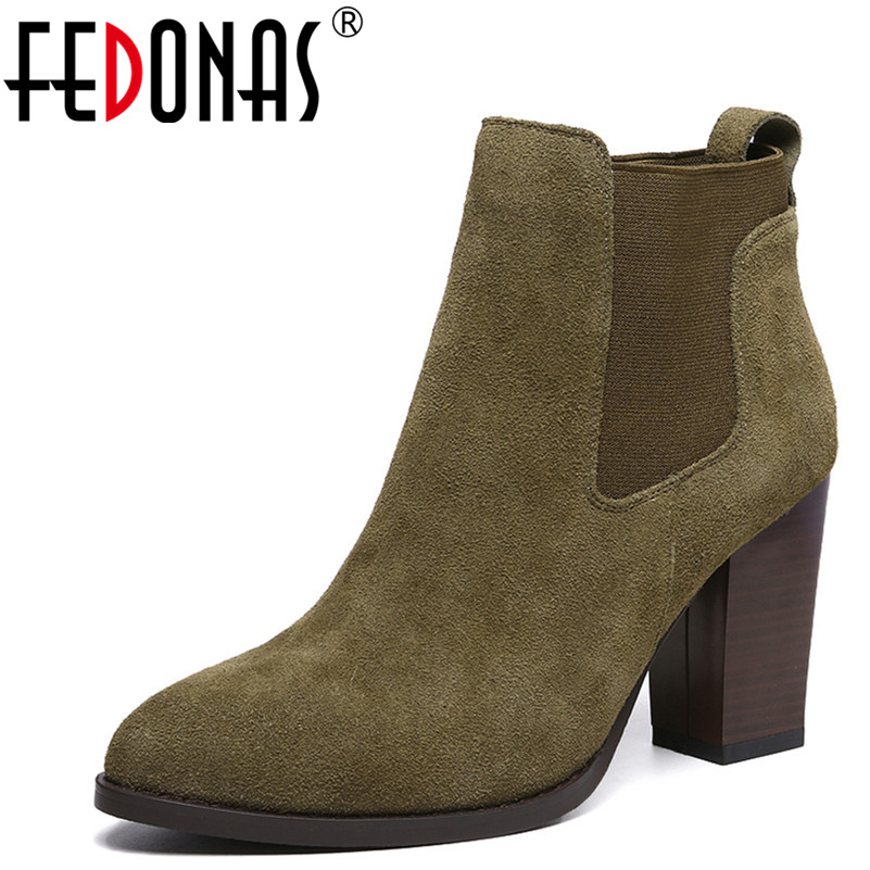 FEDONAS Fashion Women Ankle Boots Autumn Winter Warm High Heels Shoes Woman Cow Suede Office Career Elegant Brand Basic Boots цены