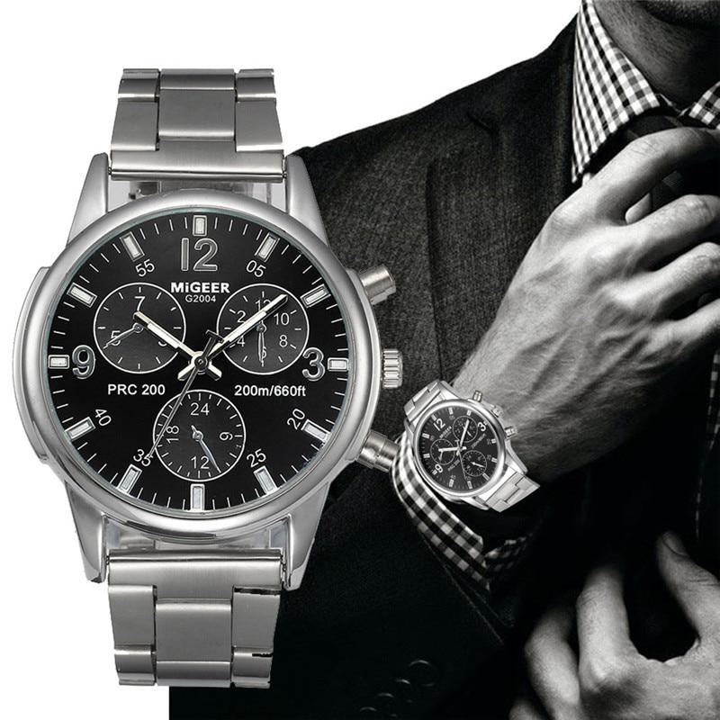 2019 New Men MIGEER Watches Luxury Designer Stainless Steel Quartz Watch Mens Analog Wrist Watches Bracelet Relogio Masculino
