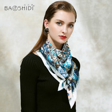 [BAOSHIDI]2017 Autumn New Arrival, 100% silk twill scarf,106*106 Square Scarves women,Floral Pattern infinity elegant silk shawl