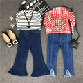 Kids Jeans Autumn 2016 New Children Jeans Girl Bell Bottom Pants Fashion Style Eastic Waist Washing & Flash Jeans 2-7 Years