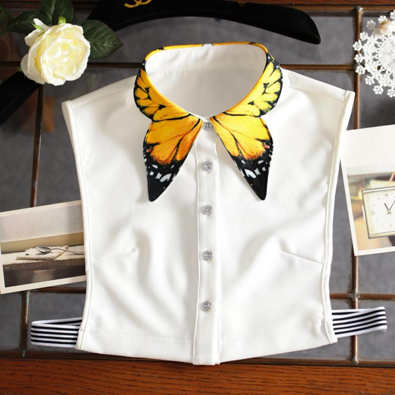 YSMILE Y High Quality Butterfly Printing Fake Collar Shirt Sweater Apparel Accessories Women Vintage Vertical Lapel Collar