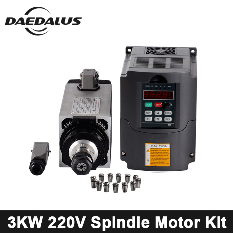CNC Spindle Motor 3KW 220V Air Cooled Spindle Router Kit Tools + 220V VFD Inverter+13pcs ER20 Collet Chuck For Engraving Machine 3kw air cooled spindle engraving machine spindle motor 3kw 4pcs ceramic bearings